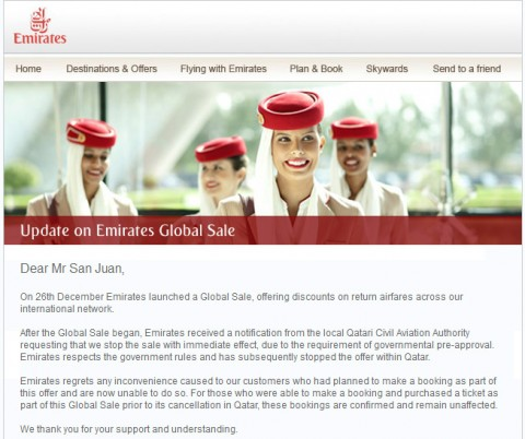 emirates cancels global sale in qatar